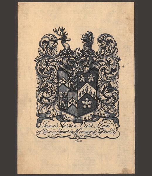 Abb. 2: Charles William Sherborn, Exlibris für James Martin Carr-Lloyd, Stahlstich, 1881 @Zentralinstitut für Kunstgeschichte, Foto:Sonja Nakagawa