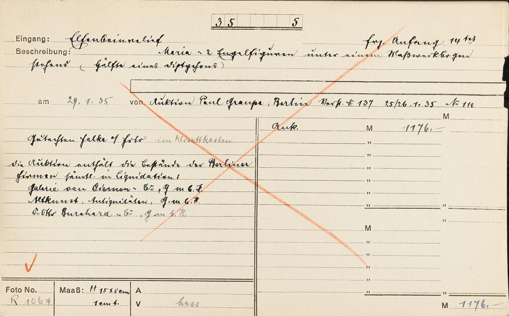 """Abb. 1: Karteikarte zum Elfenbeinrelief """"Maria mit zwei Engeln"""", ZI München/Photothek, Archiv Julius Böhler, Karteisystem München, M_35-0005"""