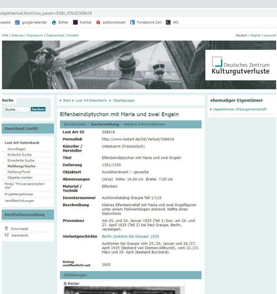 """Abb. 6. Screenhot der Internet-Datenbank """"lostart.de"""""""