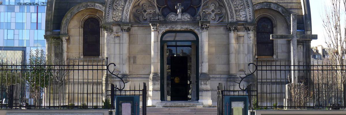 Auschnitt Fassade Eglise Notre-Dame de la Compassion, Paris, 17. Arrondissement, Entwurf von Pierre Fontaine, 1843