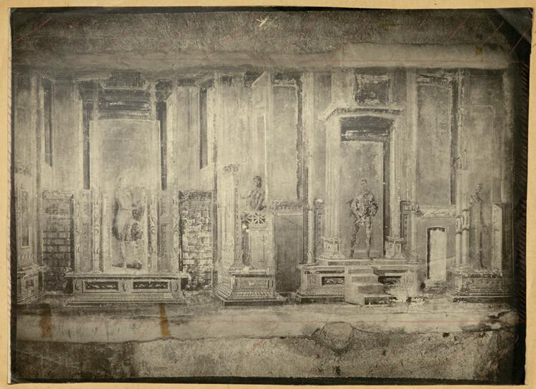 Abb. 3 Apollon und Marsyas, Pompeji VI 7,23 (Casa D'Appoline), Platindruck, mit Markierungen für die Reproduktion, um 1904, 268 x 368 mm, Vorlage für Taf. 225 (hier Abb. 2), Zentralinstitut für Kunstgeschichte München, Bildarchiv Bruckmann, Foto: F. Lampe.