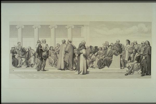 Louis-Pierre Henriquel-Dupont, Hémicycle des beaux-arts (Detail, rechte Seite), 1853. Stahlstich (nach Paul Delaroches Hémicycle), 3 Teile, zusammen 260 x 56 cm. Centre national des arts plastiques, Paris (https://upload.wikimedia.org/wikipedia/commons/6/60/Henriquel-Dupont_-_Hémicycle_3.jpg)