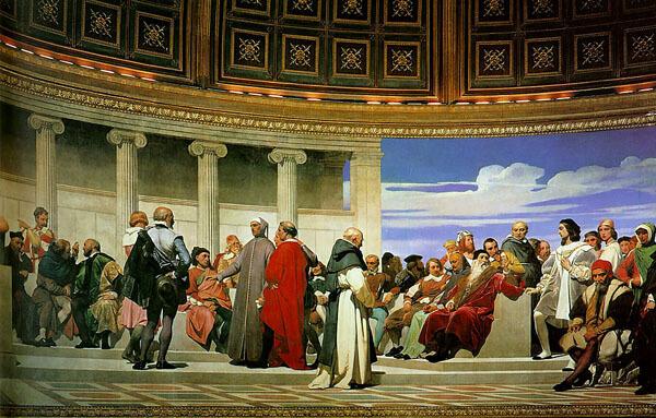 Paul Delaroche, Hémicycle des beaux-arts (Detail, rechte Seite), 1837–41. Öl und Wachs auf Wand. Ecole des beaux-arts, Paris (https://upload.wikimedia.org/wikipedia/commons/a/af/Hemicycle_of_the_Ecole_des_Beaux-Arts_3.jpg)