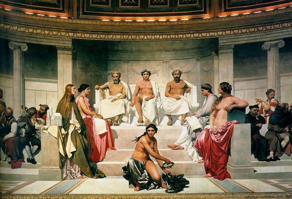 Paul Delaroche, Hémicycle des beaux-arts (Detail, Mitte), 1837–41. Öl und Wachs auf Wand. Ecole des beaux-arts, Paris